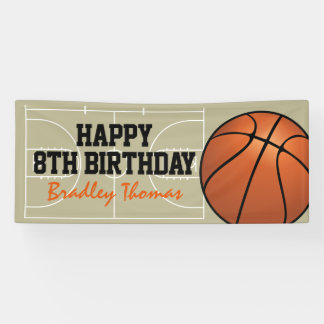 Kids Basketball Court Birthday Party Banner
