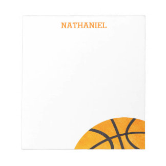 Kids Basketball Sports Personalized Orange Cool Notepad
