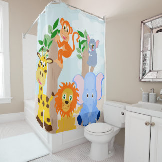 Kid's bathroom, funny animals shower curtain
