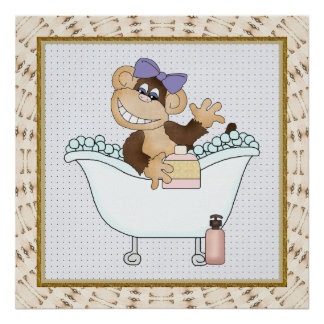 Kids Bathroom Monkey Cartoon Poster