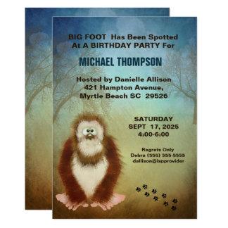 Kids Big Foot/ Sasquatch Birthday Party Card