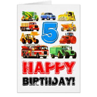 Kid's Big Truck 5th Birthday Greeting Card