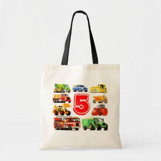 Kids Big Truck Custom 5th Birthday Tote Bag