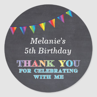 Kids birthday chalkboard bunting stickers favours