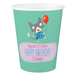 kids birthday cute party kitten template paper cup