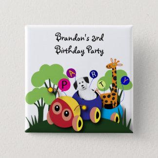 Kids birthday: Fun caterpillar train 15 Cm Square Badge