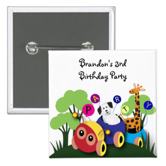 Kids birthday: Fun caterpillar train 15 Cm Square Badge