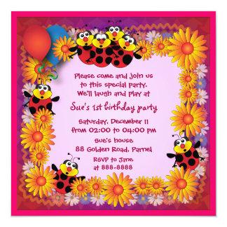Kids birthday invitation 039B: 7 Ladybugs