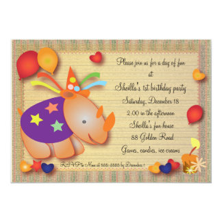 Kids Birthday Invitation 051: Rhino