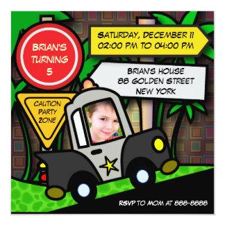 Kids birthday Invitation: 052 Police Card