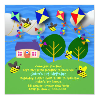 Kid's birthday invitation: 058 Spring Kites Card