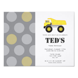 Kids Birthday Invitation - Dump Truck
