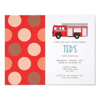 Kids Birthday Invitation - Fire Truck
