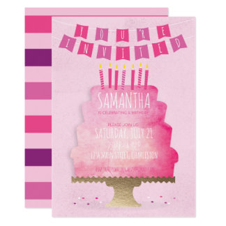 Kids Birthday Invitation - Pretty In Pink