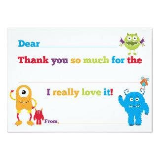 Kids Birthday Monster Fill in Thank You Cards 11 Cm X 16 Cm Invitation Card