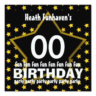 "Kids Birthday Party ANY YEAR Black Gold STAR V12A 5.25"" Square Invitation Card"
