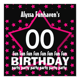 Kids Birthday Party ANY YEAR Black Pink STAR V08B Custom Announcements