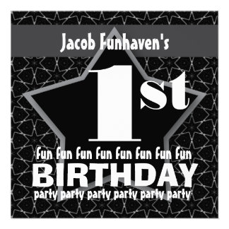 Kids Birthday Party Black and Silver STAR W201 Announcement