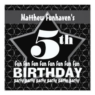 Kids Birthday Party Black and Silver STAR W201 Custom Invitations