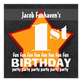 Kids Birthday Party Black Red Orange STAR W203 Personalized Invitation