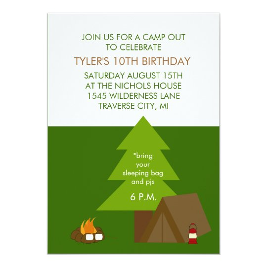 Kids Birthday Party Camp Out Invitations