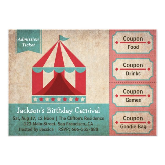 kids birthday party carnival admission ticket card. Black Bedroom Furniture Sets. Home Design Ideas