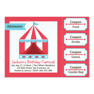Kids Birthday Party - Carnival Admission Ticket Card