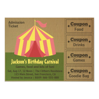 Kids Birthday Party: Carnival Admission Ticket Personalized Invitations