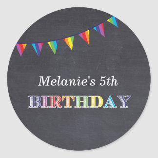 Kids birthday party chalkboard stickers favours