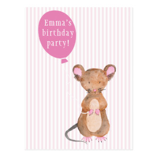 Kids Birthday Party | Cute Woodland Mouse Postcard