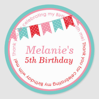 Kids birthday party DIY bunting stickers favours