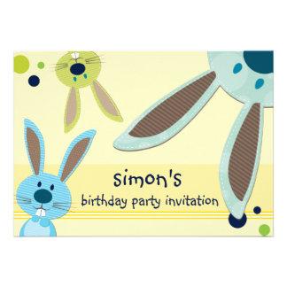 KIDS BIRTHDAY PARTY INVITE cute bunny s peeking