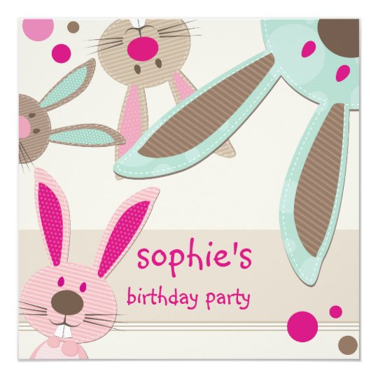 KIDS BIRTHDAY PARTY INVITE cute bunny's peeking