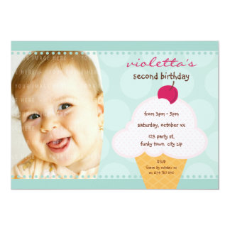 KIDS BIRTHDAY PARTY INVITE cute icecream cone