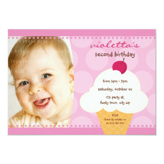 KIDS BIRTHDAY PARTY INVITE cute icecream cone