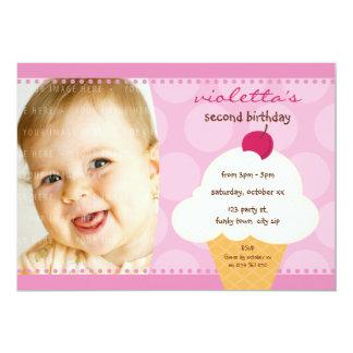 """KIDS BIRTHDAY PARTY INVITE cute icecream cone 5"""" X 7"""" Invitation Card"""