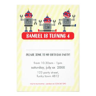 KIDS BIRTHDAY PARTY INVITE modern robot trio