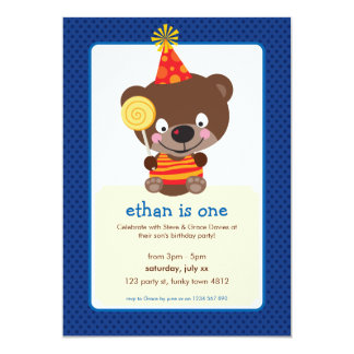 KIDS BIRTHDAY PARTY INVITE teddybear lollipop 1P