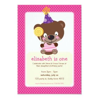 "KIDS BIRTHDAY PARTY INVITE teddybear lollipop 5"" X 7"" Invitation Card"