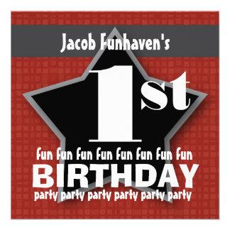 Kids Birthday Party Red Black Silver STAR W204 Invite