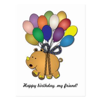 Kids birthday Party: Rhino Postcard