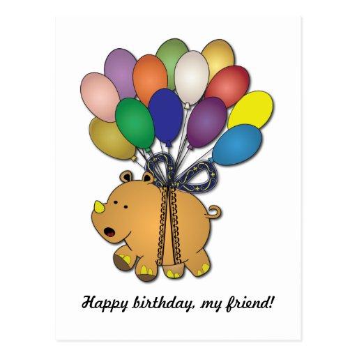 Kids birthday Party: Rhino Postcards