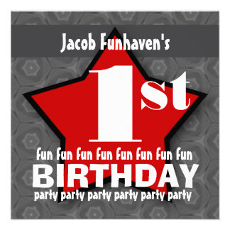 Kids Birthday Party Silver and Red STAR W202 Personalized Announcement