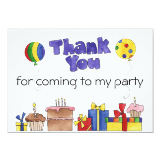 Kids Birthday Party Thank You cards Personalized I 13 Cm X 18 Cm Invitation Card