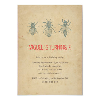 Kids Birthday Party Vintage Bumble Bee Insects 7th 11 Cm X 16 Cm Invitation Card