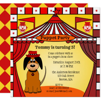 Kids Birthday Puppet or Circus Party Invitation