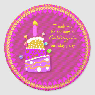 kids Birthday Thank You Stickers: Birthday Cake Round Sticker