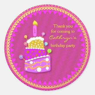 kids Birthday Thank You Stickers: Birthday Cake Round Sticker