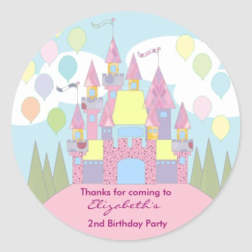 Kids Birthday Thank You Stickers: Castle