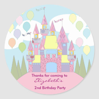 Kids Birthday Thank You Stickers: Castle Classic Round Sticker